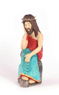 Jesus statue Wood Carved  Jesus  OOAK   Hand carved Folk Art from Poland Easter decor