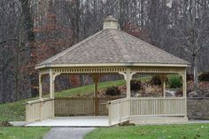 Gazebo in park with ramp for easy access - We delivery fully assembled gazebos throughout eastern Ontario and Quebec. Visit us online for fully price list ncsshelters.com