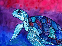 Tortue de mer Print (Trippy coloré hawaïen tortue dans les profils d'aquarelle Kapa tissu psychédélique Magenta, rose, Violet et bleu)