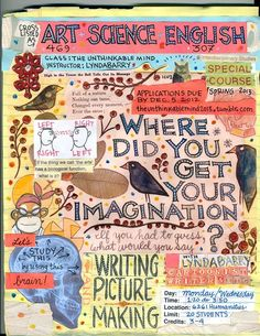 Lynda Barry's Syllabus: An Illustrated Field Guide to Keeping a Visual Diary and Cultivating the Capacity for Creative Observation – Brain Pickings Moleskine, English Creative Writing, Lynda Barry, Austin Kleon, Arts Integration, Teaching Writing, Teaching Tools, Visual Diary, Field Guide