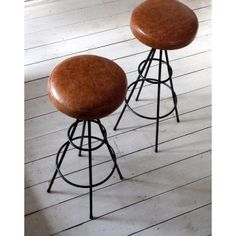 Pair of 1950s Vintage French Bar Stools / Counter Stools