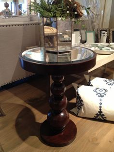 Wood Gourd Table with Mirror Top - 19.5d x 25h, $542.50