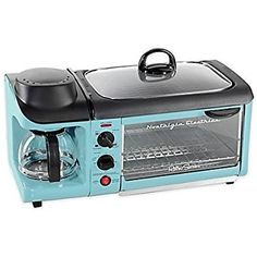 Amazon.com: Nostalgia Electrics Retro Series 3-In-1 Breakfast Station in Blue Includes Coffee Maker, Griddle and Toaster Oven: Kitchen & Dining