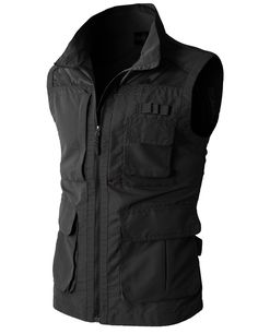 H2H Mens Casual Work Utility Hunting Travels Sports Vest With Multiple Pockets BLACK US XL/Asia XXL (KMOV080)