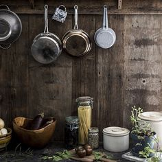 Wood wall country kitchen pot rack, by Jersey Ice Cream Co. Ice Cream Companies, Local Milk, Interior Minimalista, Pot Rack, Country Kitchen, Kitchen Cook, Country Homes, Rustic Kitchen, Country Life