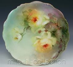 LOVELY LIMOGES HAND PAINTED ROSES PLATE