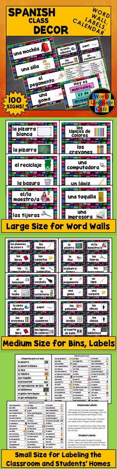 Spanish class labels for school supplies, classroom, plus Spanish interchangeable calendar set, and student labels for items at home. Great for Spanish class decor, decorations, or bulletin boards.
