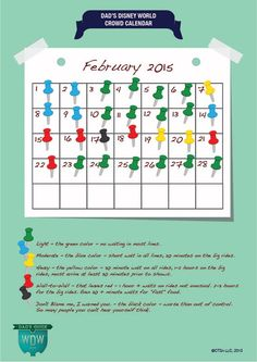Dad's February 2015 Disney World Crowds Calendar