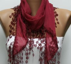 Wine Scarf   Cotton  Scarf  Headband Necklace Cowl by fatwoman, $15.00