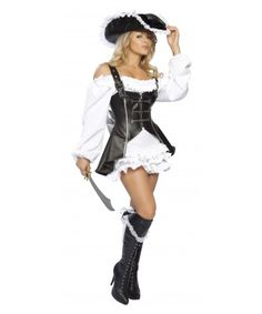 Roxanni  Halloween Costume Women's 4pc Pirate Maiden by Roma®