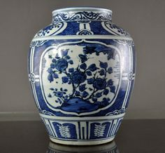 A Large Chinese Blue White Porcelain Jar Ming Dynasty Wanli Period   eBay