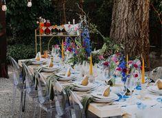 Leaf Green Plush Velvet Napkins paired with Van Gogh Blue Floral Wide Table Runner