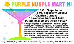 PURPLE NURPLE MARTINI - Recipe on Original Art Recipe Card