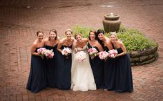 Lauren & Matthew's Cleveland Intimate Real Wedding as seen on RealWeddings.TodaysBride.com photographed byNew Image Photography, navy bridesmaids gowns, long bridesmaids dresses