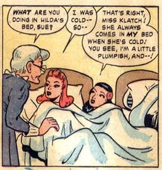 """""""She always comes in MY bed..."""" Passing the Bechdel test between the sheets in 1940s comics. (FOUR TEENERS, 1948)"""
