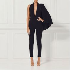 Antoinette Backless Jumpsuit with Side Cape