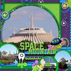 Love the little spaceship on this. Cruise Scrapbook, Disney Scrapbook Pages, Travel Scrapbook, Scrapbooking Layouts, Scrapbook Photos, Disney World Florida, Walt Disney World Vacations, Project Life Scrapbook, Disney Rides