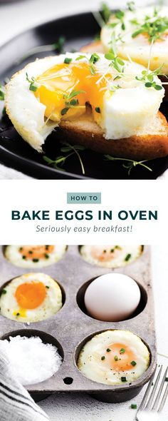 Learn how to bake eggs in the oven. They make a great on-the-go and meal prep breakfast. In this post, you'll learn how to make perfectly baked eggs every time. Healthy Crockpot Recipes, Healthy Breakfast Recipes, Brunch Recipes, Appetizer Recipes, Brunch Ideas, Oven Baked Eggs, Eggs In Oven, Healthy Breakfast Smoothies