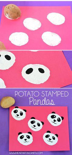 Potato Stamped Pandas - I Heart Arts n Crafts - Vegetables 🥗 Kids Crafts, Animal Crafts For Kids, Diy For Kids, Arts And Crafts, Potato Stamp, Potato Print, Art N Craft, Diy Art, Panda Craft