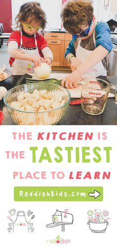 The kitchen is the tastiest place to learn. Inspire a lifelong love of learning & good food with Raddish. The perfect chance to teach your kids to cook while having fun. Get your kit today! Free assessment tools for your child Sensory Activities, Learning Activities, Preschool Activities, Kids Learning, Preschool Supplies, Preschool Weather, Diy Supplies, Baking Supplies, Educational Activities