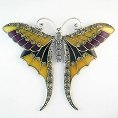 Au Bout des Reves large Art Nouveau butterfly brooch by carter flynn