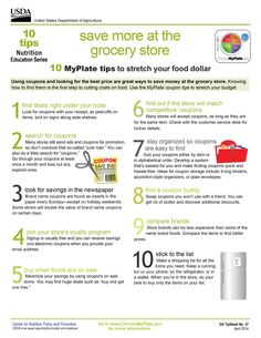 Tips to save $$$ at the grocery store! Use these #MyPlate coupon tips to stretch your food costs. #HealthyEating #nutrition #SavvyShopper