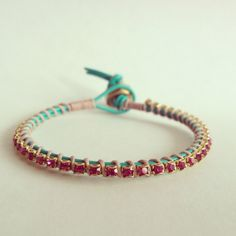 Teal Leather Wrap Bracelet with Fuchsia Swarovski Crystal - love the color combo!