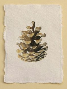 Pine cone original watercolour illustration study painting by Lisa Le Quelenec. So much potential in the lonely pine cone. Watercolor Christmas Cards, Watercolor Cards, Watercolor Illustration, Painting & Drawing, Watercolour Painting, Watercolours, Painting Canvas, Tattoo Watercolor, Illustration Mignonne