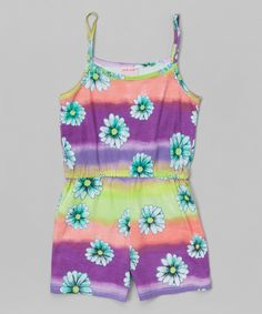 Love this Turquoise Tie-Dye Daisy Romper - Girls by S.W.A.K. on #zulily! #zulilyfinds