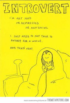 Introvert: I'm not mad or depressed or antisocial, I just need not to talk to anyone for a while, and that's okay.