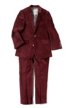 Tibetan Red Velvet 2 Piece Mod Suit by Appaman
