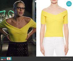 Felicity's yellow off-shoulder top on Arrow.  Outfit Details: https://wornontv.net/80836/ #Arrow