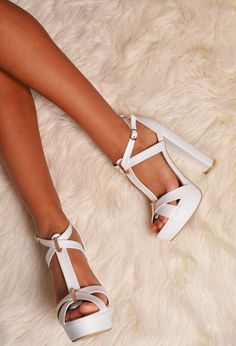 Yolinda White Chunky Platform Shoes