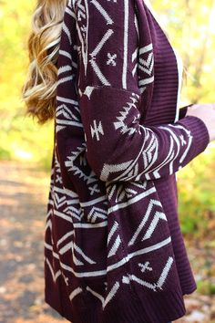 burgundy + white Aztec cardigan