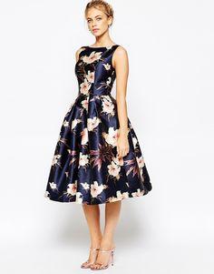 Image 4 ofChi Chi London Full Prom Skater Dress In Floral Print