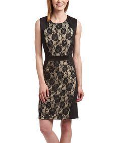 Loving this Black Lace Scoop Neck Sheath Dress on #zulily! #zulilyfinds