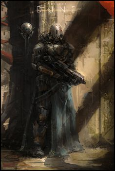 Project Dune - Arrakeen City Guard concept art by Mark Molnar Space Fantasy, Sci Fi Fantasy, Sci Fi Kunst, Dune Art, Arte Ninja, Frank Herbert, Techno, Sci Fi Armor, Future Soldier