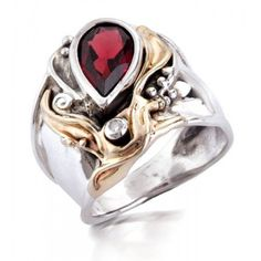 925 Silver & 14k yellow Gold Ring with Gemstone & Diamond | Hagit Gorali Jewelry