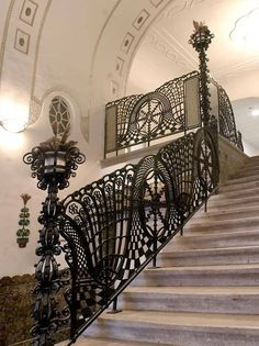 A Staircase, from Street Bencur Budapest, Hungary Architecture Details, Interior Architecture, Art Nouveau, Art Deco, Iron Work, Stairway To Heaven, Budapest Hungary, Gaudi, House Goals