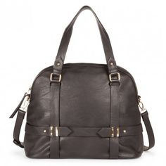 Roomy black bowler bag with detailed hardware, a front zipper pocket, top handles and a removable shoulder strap