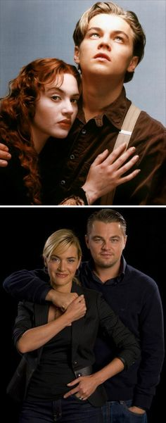 Then and Now, Kate Winslet and Leonardo DiCaprio
