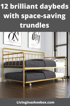 Golden metal daybed with trundle
