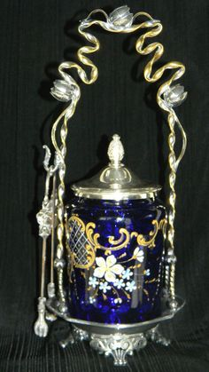 Antique VICTORIAN PICKLE CASTOR Cobalt Blue Insert with Flowers and Gold Motives