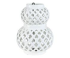 Lanterne céramique, blanc - H30