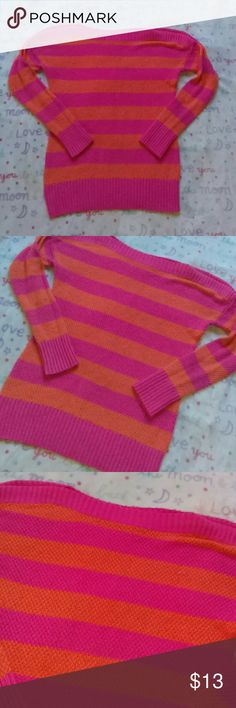 Gap Pink And Orange Stripe Sweater Size extra small. In excellent condition. Any questions please ask. Thanks for viewing. Happy poshing! GAP Sweaters