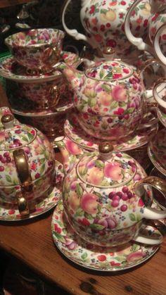 """Fruit Motif Chintz Teapot for One""  Designer ~Baum Brothers~"