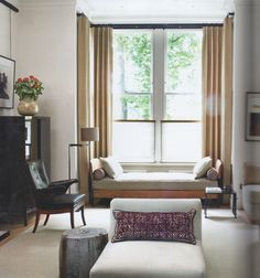 by Jonathan Reed - window seat, armchairs, black lacquer cabinet, blinds from window sill