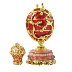 Faberge Style Small Red Egg and wagon With Swarovski Elements Crystal Trinket Pill Jewelry Box -- Learn more by visiting the image link.