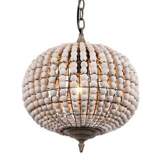 Newrays Wood Bead Chandelier Pendant Light Gray White Finishing Retro Vintage Antique Rustic Kitchen Ceiling Lamp Light Fixtures (Globe)