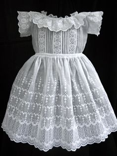 antique baby dress ... c. 1880      I love the lace in the skirt of this dress